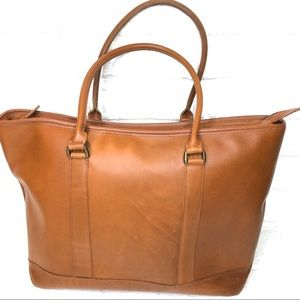 LL Bean large All Leather zip tote